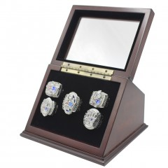 NFL 2001 2003 2004 2014 2016 New England Patriots Super Bowl Championship Replica Fan Rings with Wooden Display Case Set